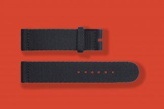 18mm textile woven black blue nomos watch strap 5840