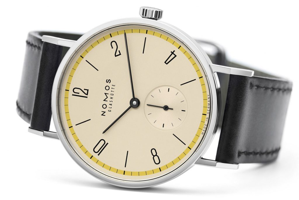 Nomos Glashuette Tangente 100 Years Bauhaus Limited Edition Yellow Side View